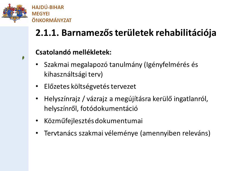 2.1.1. Barnamezős területek rehabilitációja