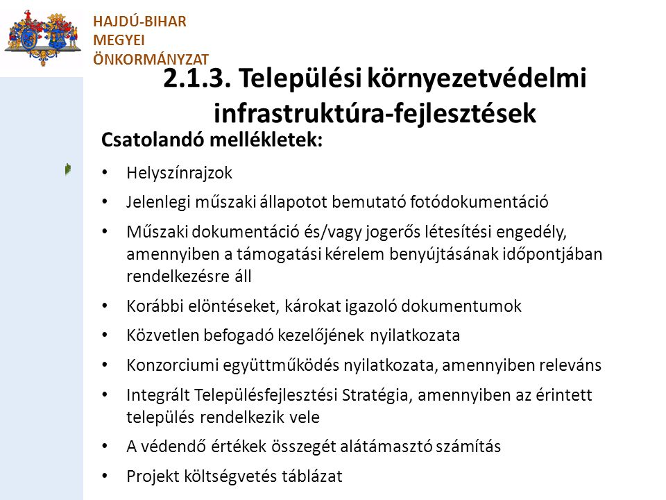 2.1.3. Települési környezetvédelmi infrastruktúra-fejlesztések