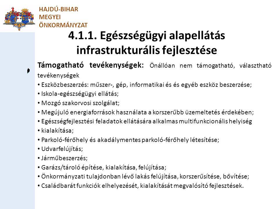 4.1.1. Egészségügyi alapellátás infrastrukturális fejlesztése