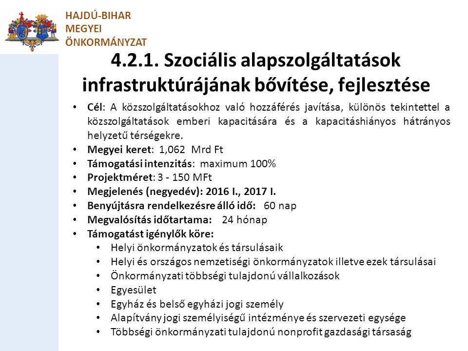 HAJDÚ-BIHAR MEGYEI. ÖNKORMÁNYZAT. 4.2.1. Szociális alapszolgáltatások infrastruktúrájának bővítése, fejlesztése.