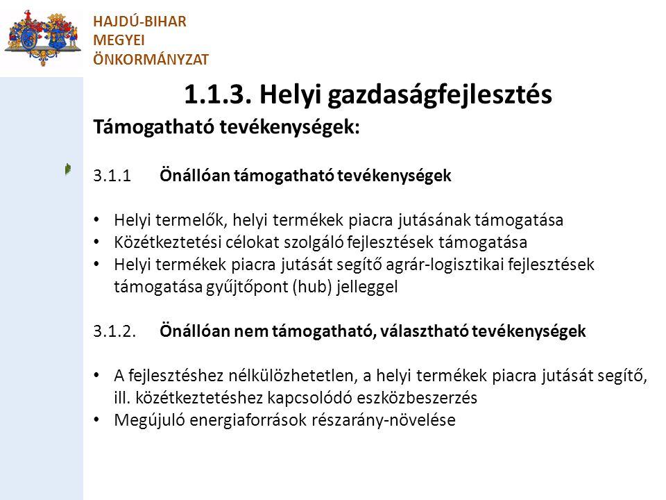 1.1.3. Helyi gazdaságfejlesztés
