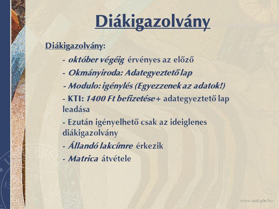 Diákigazolvány Diákigazolvány: - Okmányiroda: Adategyeztető lap