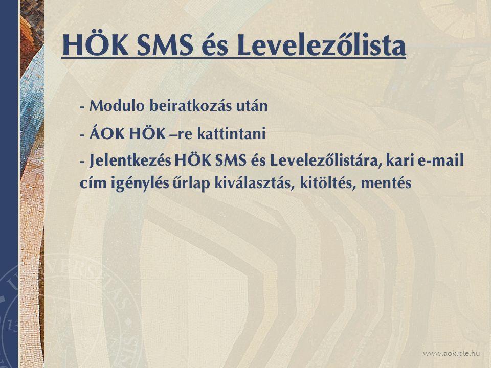 HÖK SMS és Levelezőlista