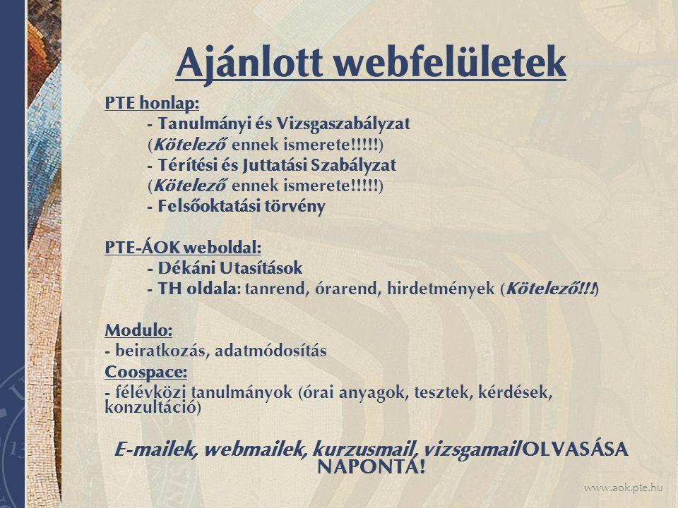 Ajánlott webfelületek