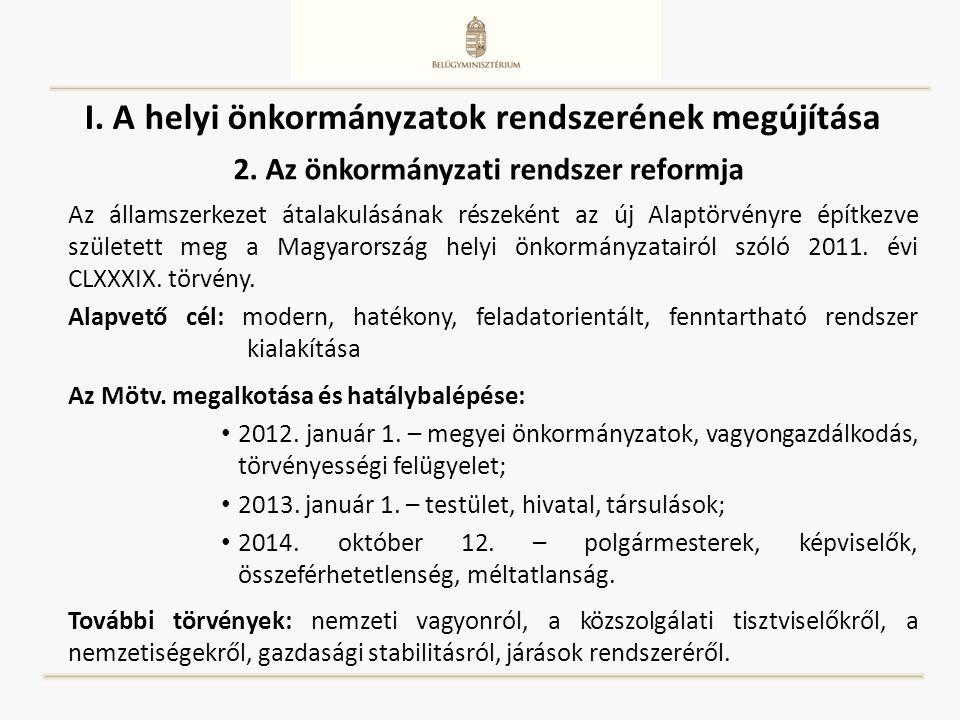 I. A helyi önkormányzatok rendszerének megújítása