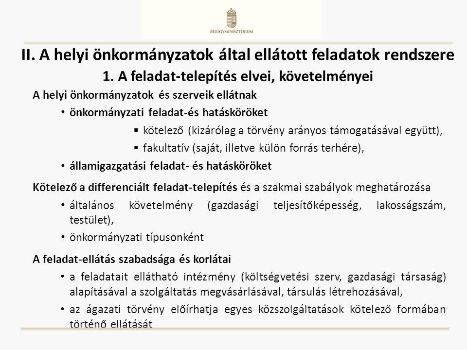 II. A helyi önkormányzatok által ellátott feladatok rendszere