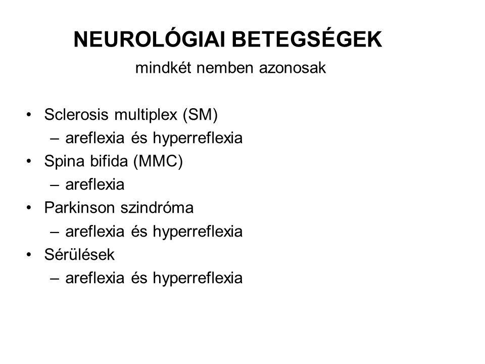 NEUROLÓGIAI BETEGSÉGEK mindkét nemben azonosak
