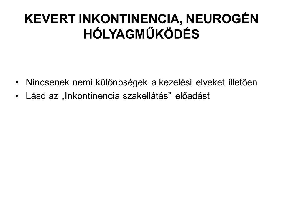 Kevert inkontinencia, neurogén hólyagműködés