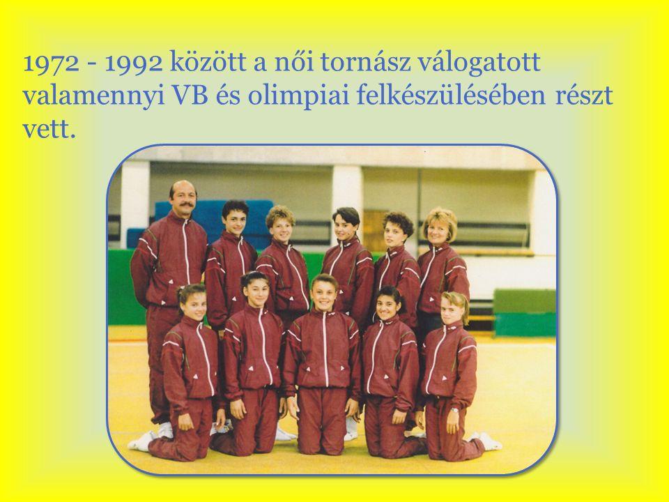 1972 - 1992 között a női tornász válogatott valamennyi VB és olimpiai felkészülésében részt vett.