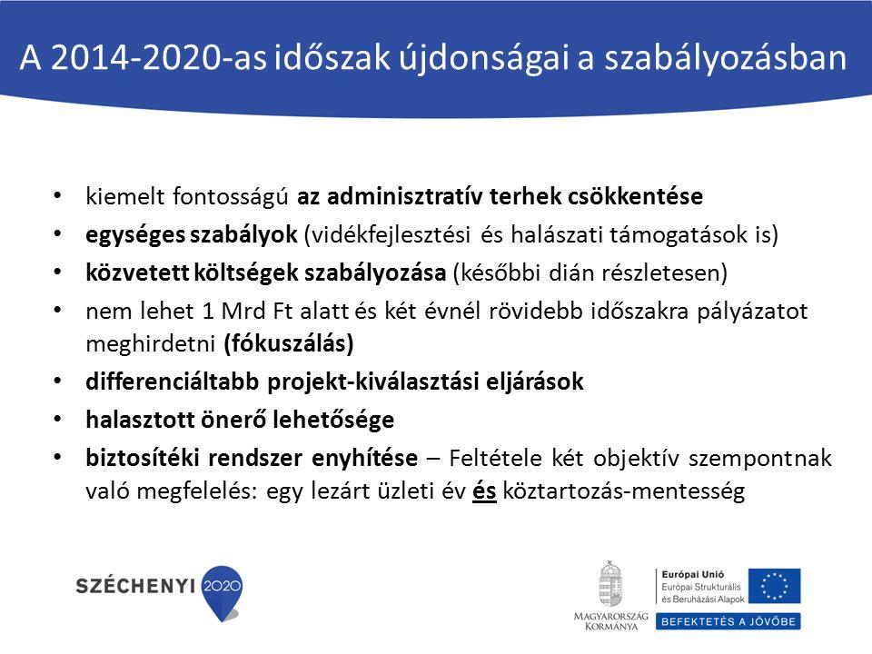 A 2014-2020-as időszak újdonságai a szabályozásban