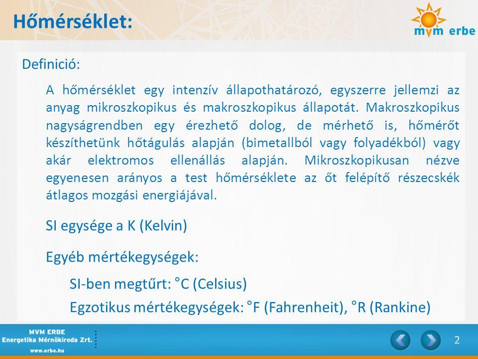 Hőmérséklet: SI egysége a K (Kelvin) Egyéb mértékegységek: