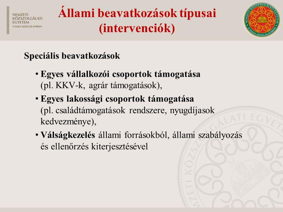 Állami beavatkozások típusai (intervenciók)