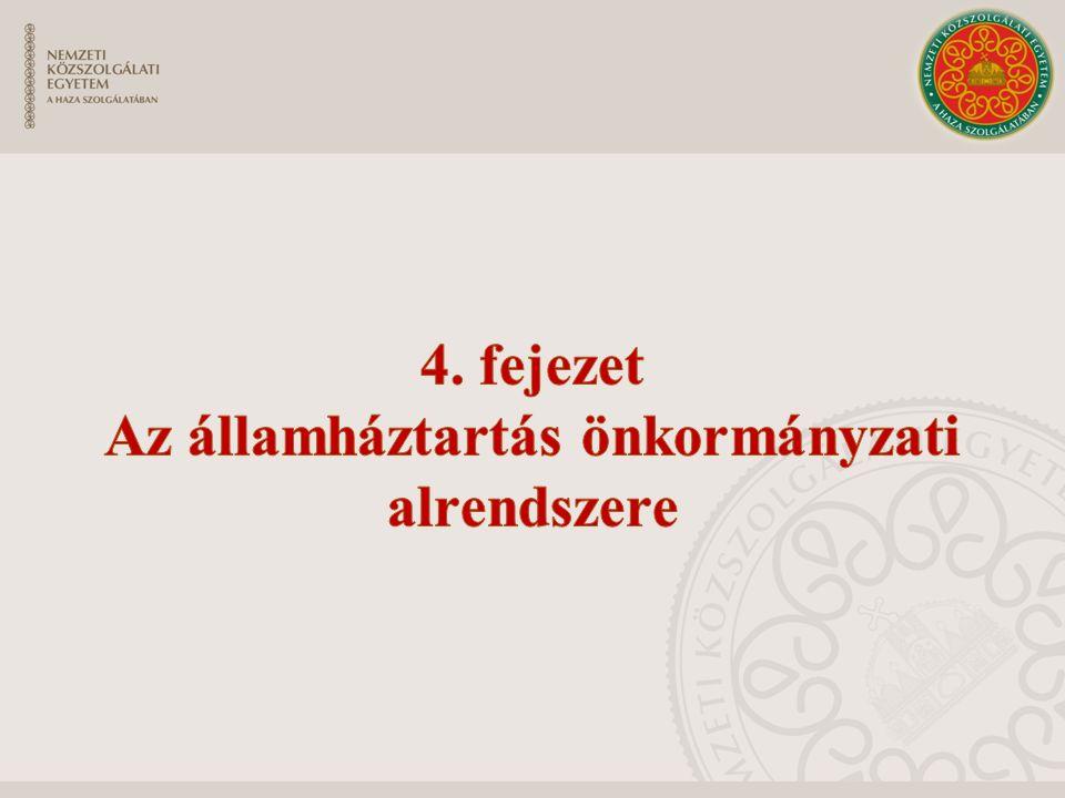 4. fejezet Az államháztartás önkormányzati alrendszere