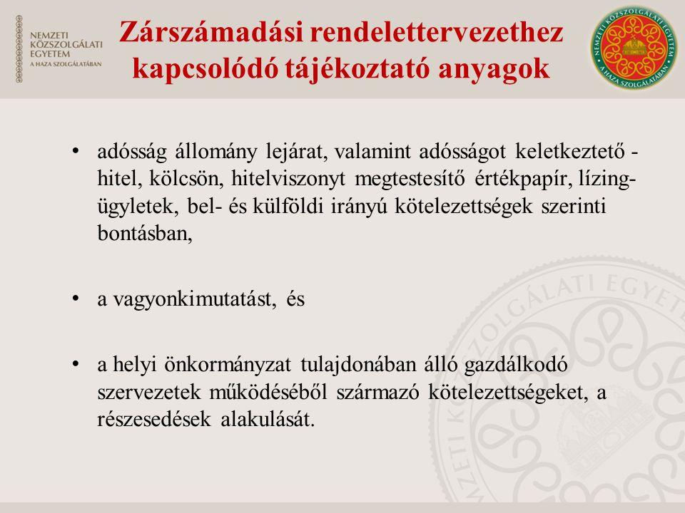 Zárszámadási rendelettervezethez kapcsolódó tájékoztató anyagok