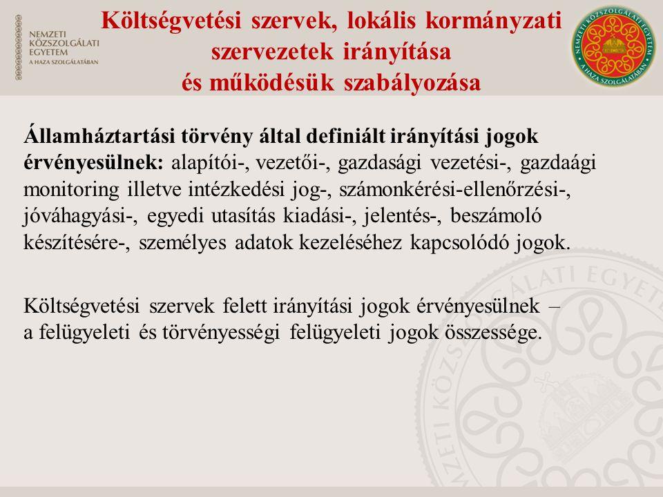 Költségvetési szervek, lokális kormányzati szervezetek irányítása