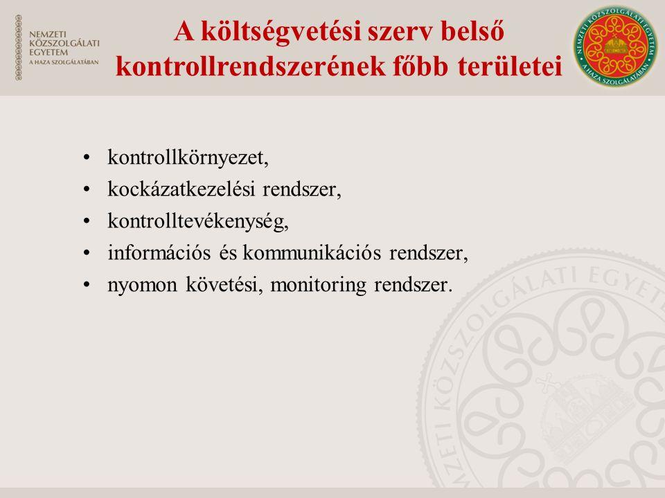 A költségvetési szerv belső kontrollrendszerének főbb területei