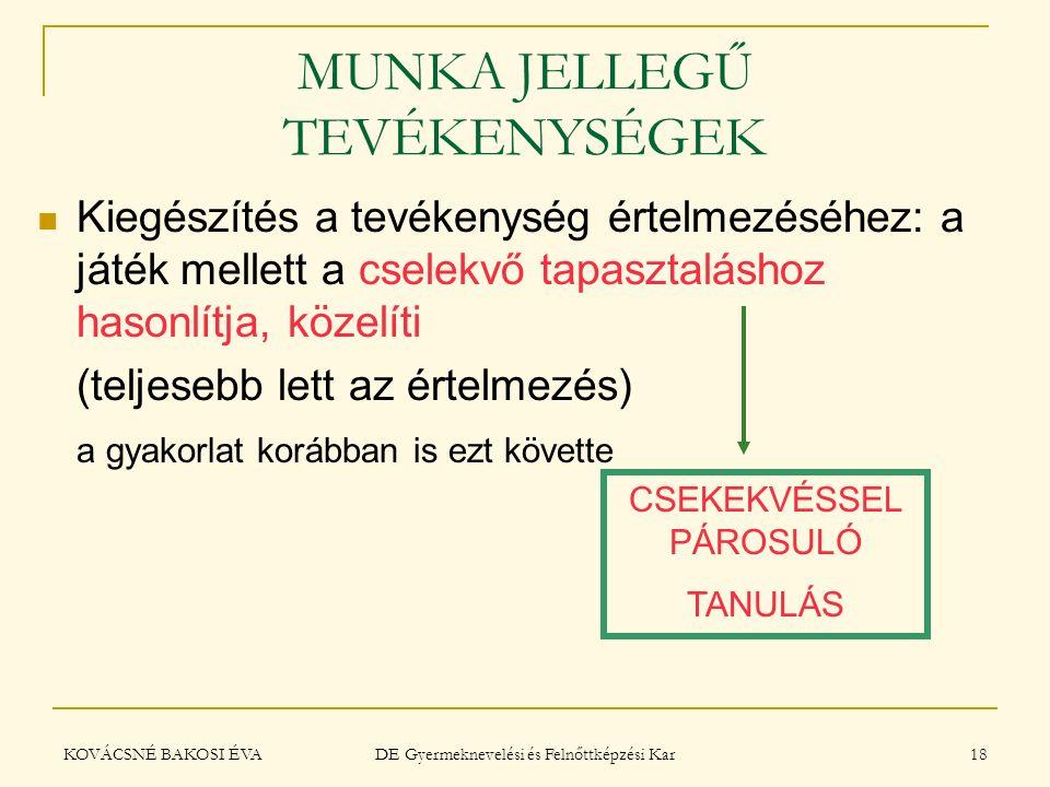 MUNKA JELLEGŰ TEVÉKENYSÉGEK