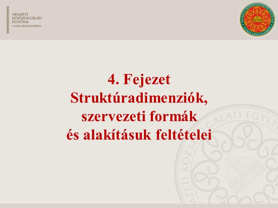 4. Fejezet Struktúradimenziók, szervezeti formák és alakításuk feltételei