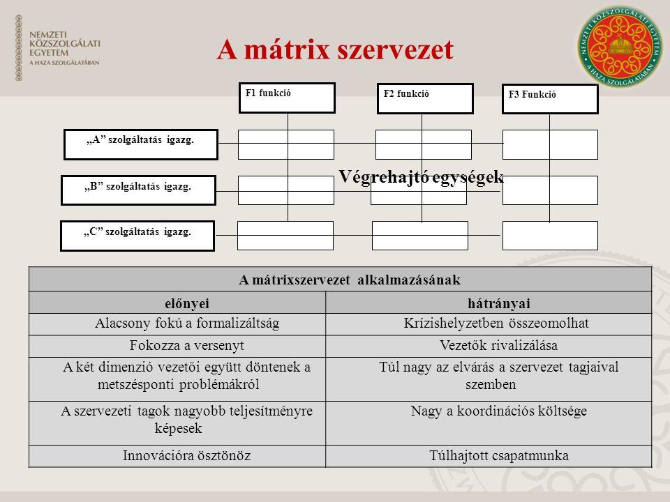 A mátrix szervezet Végrehajtó egységek