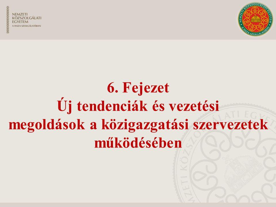6. Fejezet Új tendenciák és vezetési megoldások a közigazgatási szervezetek működésében