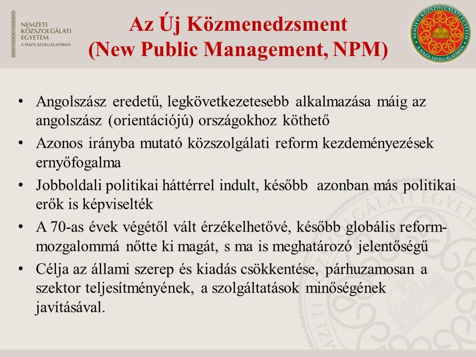 Az Új Közmenedzsment (New Public Management, NPM)