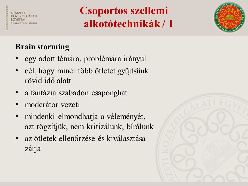 Csoportos szellemi alkotótechnikák / 1