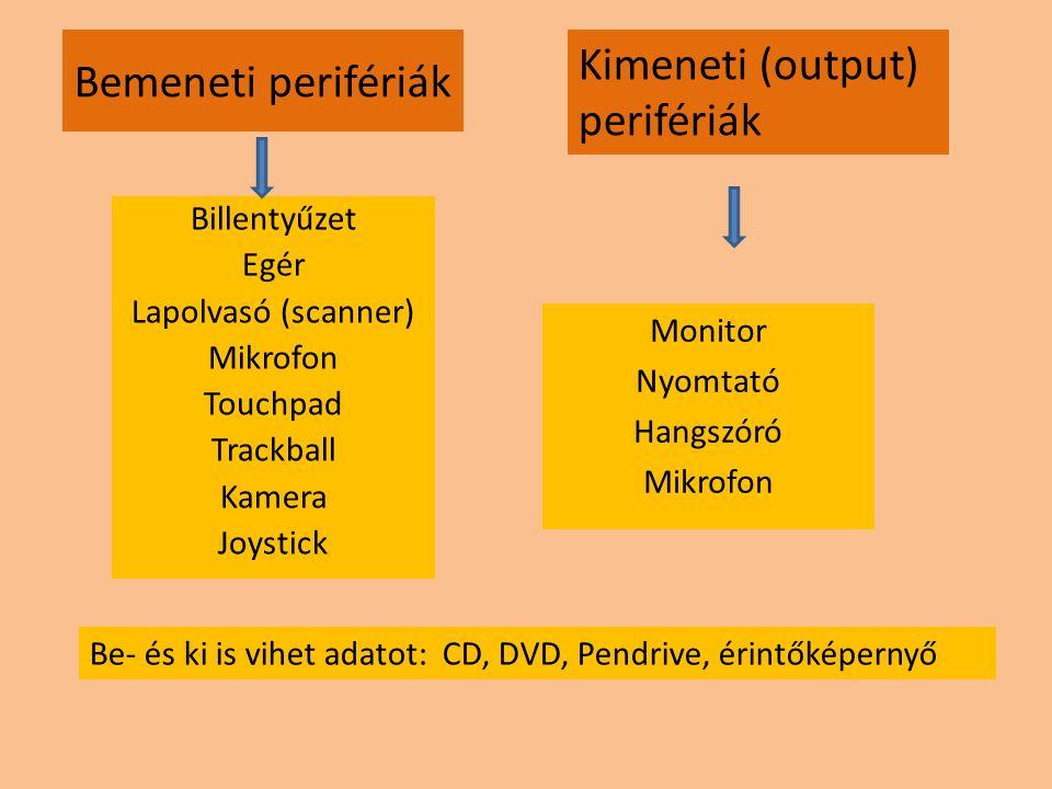 Kimeneti (output) Bemeneti perifériák perifériák
