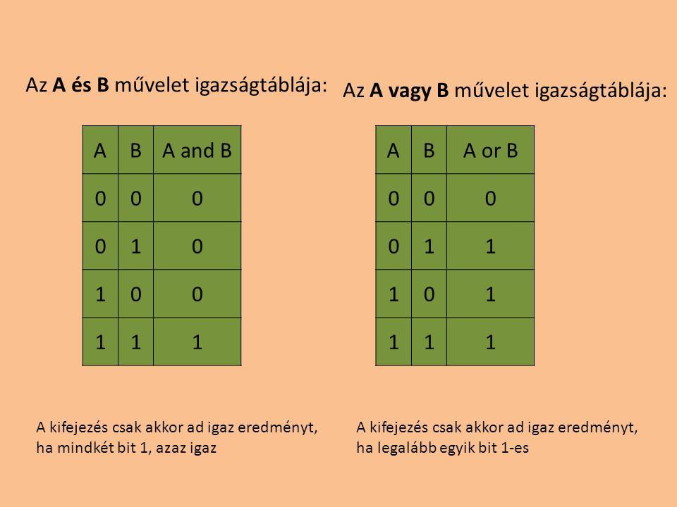 Az A és B művelet igazságtáblája: Az A vagy B művelet igazságtáblája: