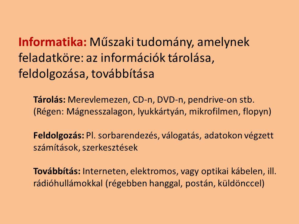 Informatika: Műszaki tudomány, amelynek feladatköre: az információk tárolása, feldolgozása, továbbítása