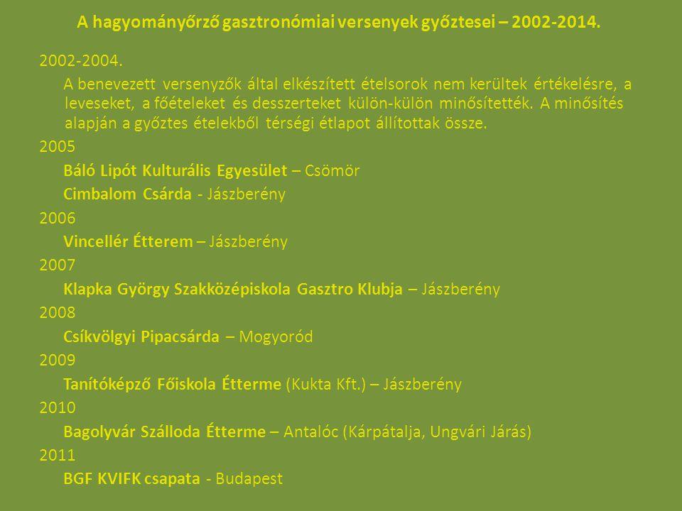 A hagyományőrző gasztronómiai versenyek győztesei – 2002-2014.