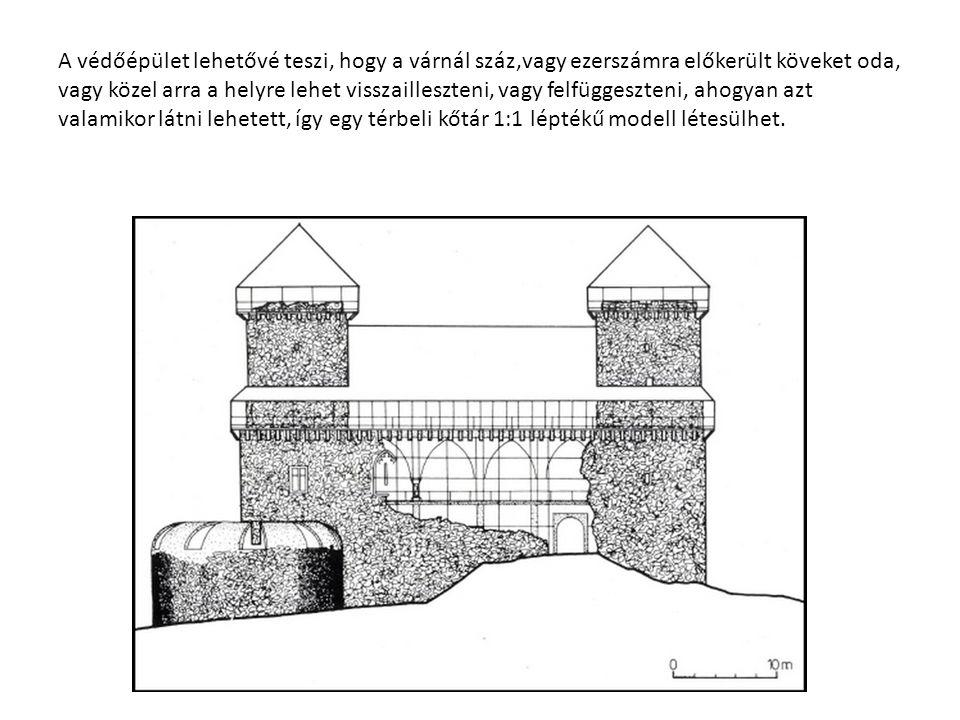A védőépület lehetővé teszi, hogy a várnál száz,vagy ezerszámra előkerült köveket oda, vagy közel arra a helyre lehet visszailleszteni, vagy felfüggeszteni, ahogyan azt valamikor látni lehetett, így egy térbeli kőtár 1:1 léptékű modell létesülhet.