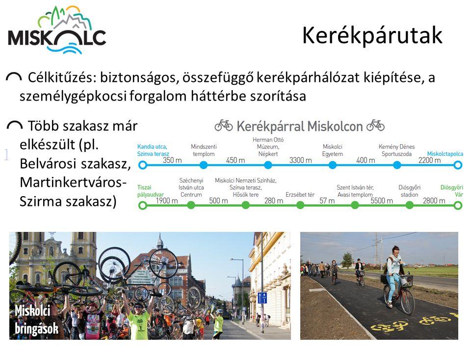 Kerékpárutak Célkitűzés: biztonságos, összefüggő kerékpárhálózat kiépítése, a személygépkocsi forgalom háttérbe szorítása.