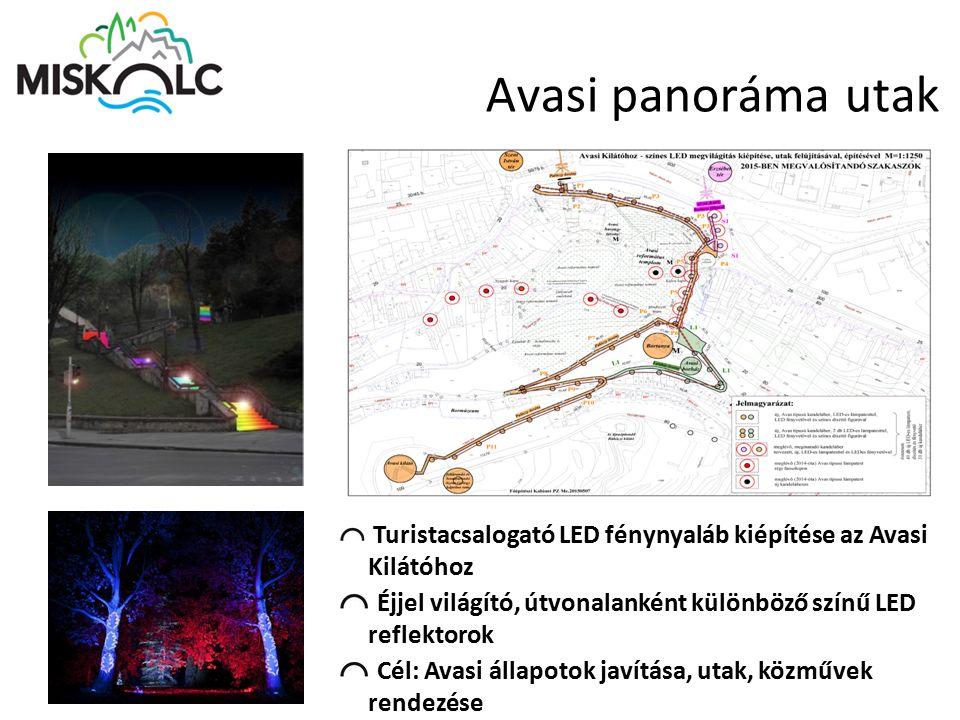 Avasi panoráma utak Turistacsalogató LED fénynyaláb kiépítése az Avasi Kilátóhoz. Éjjel világító, útvonalanként különböző színű LED reflektorok.