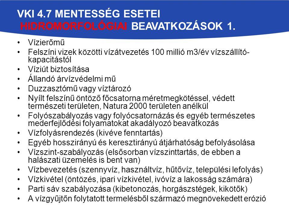 VKI 4.7 MENTESSÉG ESETEI HIDROMORFOLÓGIAI BEAVATKOZÁSOK 1.