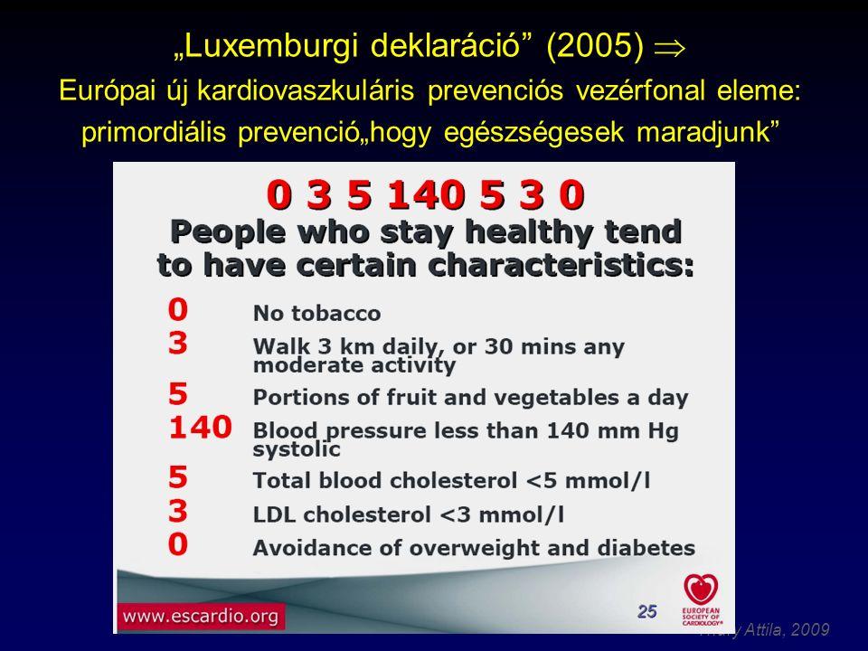 """""""Luxemburgi deklaráció (2005)  Európai új kardiovaszkuláris prevenciós vezérfonal eleme: primordiális prevenció""""hogy egészségesek maradjunk"""