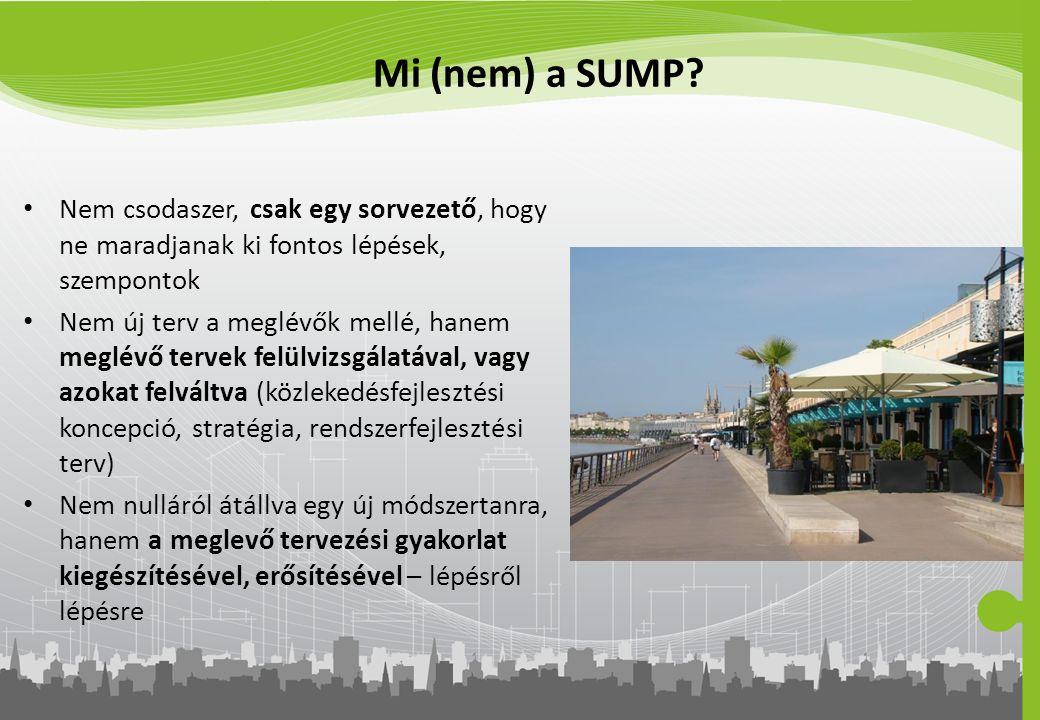 Mi (nem) a SUMP Nem csodaszer, csak egy sorvezető, hogy ne maradjanak ki fontos lépések, szempontok.