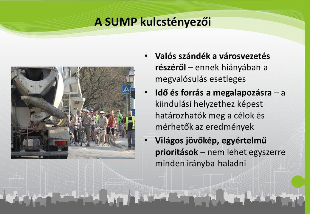 A SUMP kulcstényezői Valós szándék a városvezetés részéről – ennek hiányában a megvalósulás esetleges.