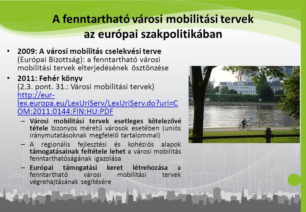 A fenntartható városi mobilitási tervek az európai szakpolitikában