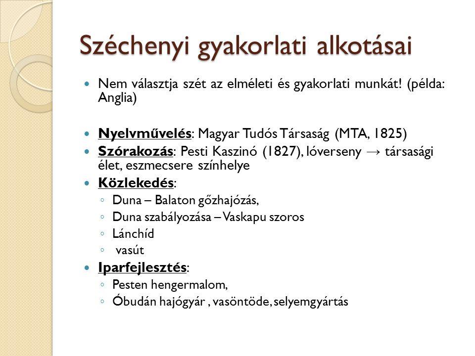 Széchenyi gyakorlati alkotásai