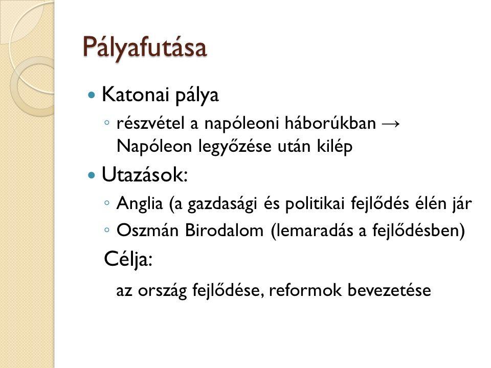 Pályafutása Katonai pálya Utazások: Célja: