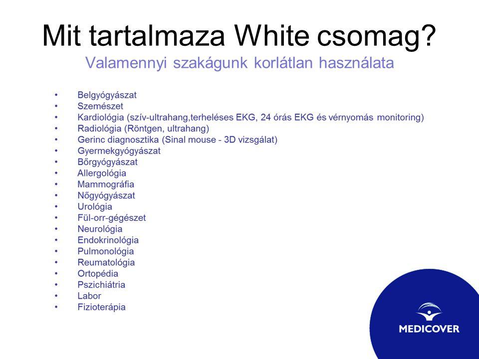 Mit tartalmaza White csomag Valamennyi szakágunk korlátlan használata