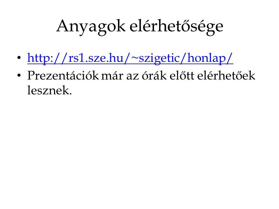 Anyagok elérhetősége http://rs1.sze.hu/~szigetic/honlap/