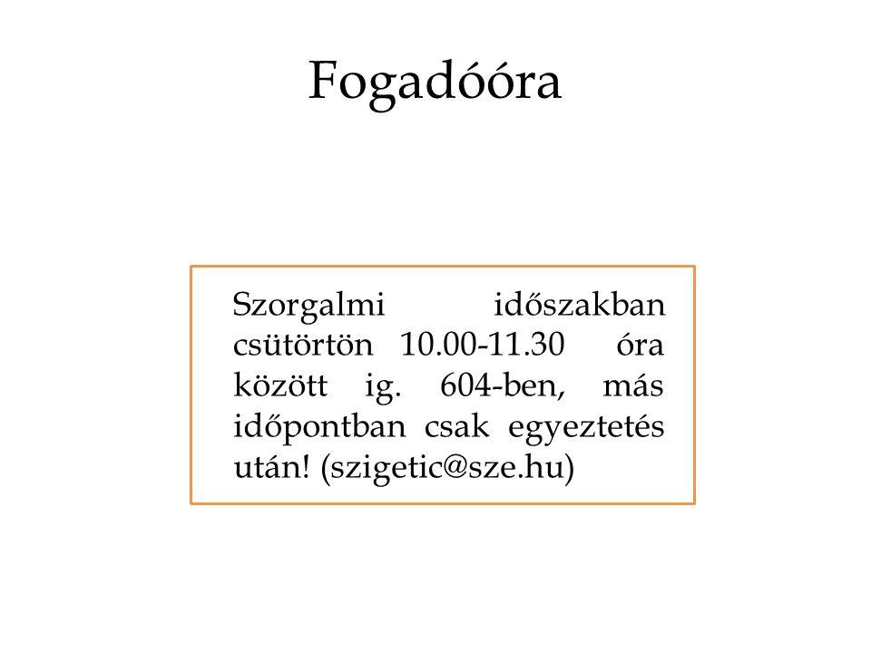 Fogadóóra Szorgalmi időszakban csütörtön 10.00-11.30 óra között ig.