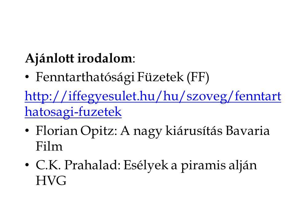 Ajánlott irodalom: Fenntarthatósági Füzetek (FF) http://iffegyesulet.hu/hu/szoveg/fenntarthatosagi-fuzetek.