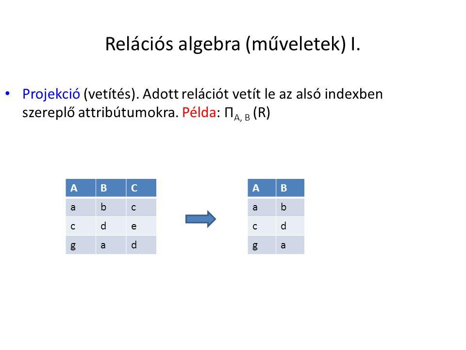 Relációs algebra (műveletek) I.