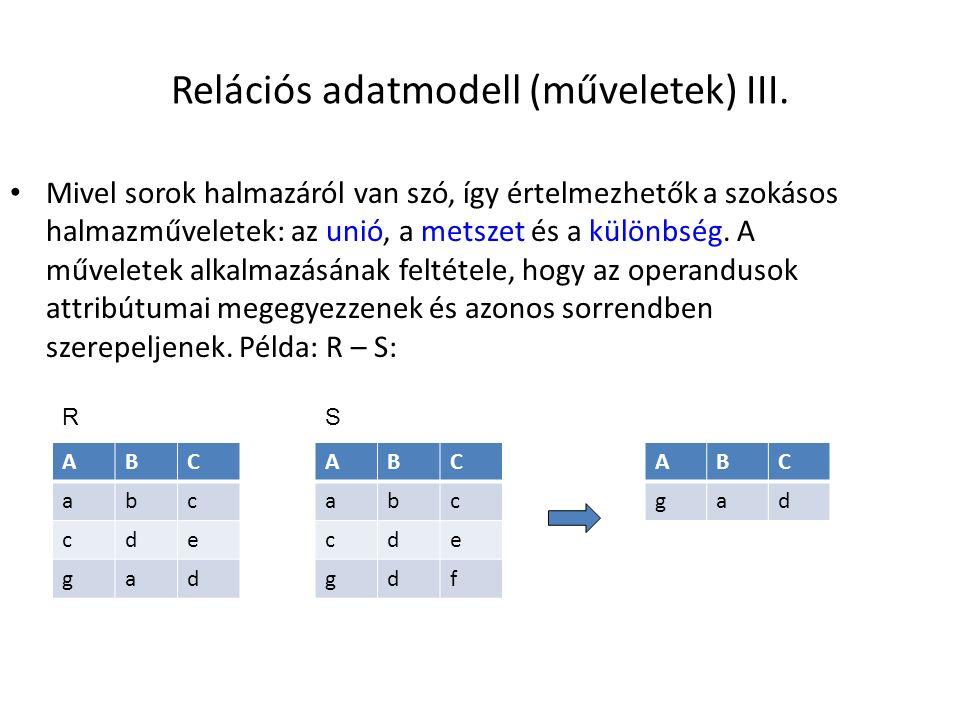 Relációs adatmodell (műveletek) III.