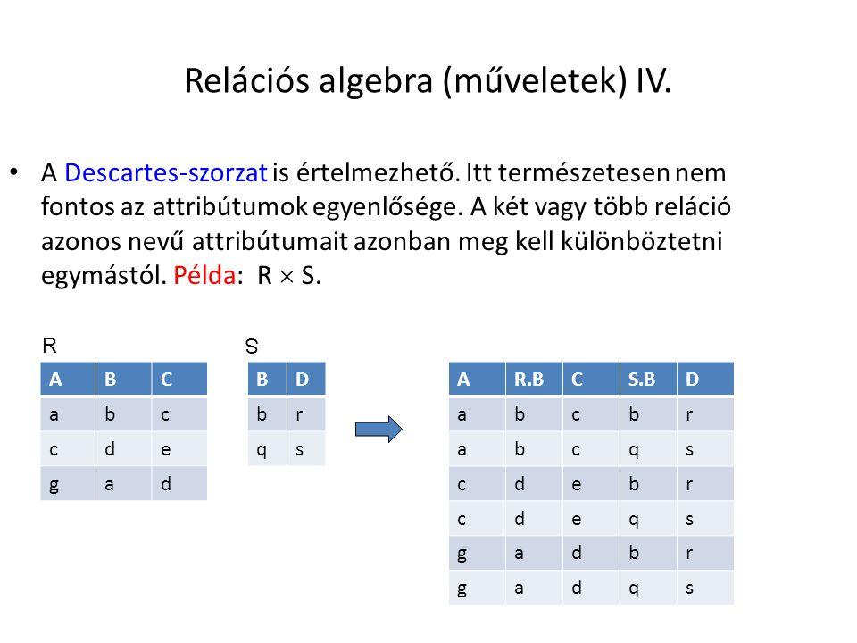 Relációs algebra (műveletek) IV.