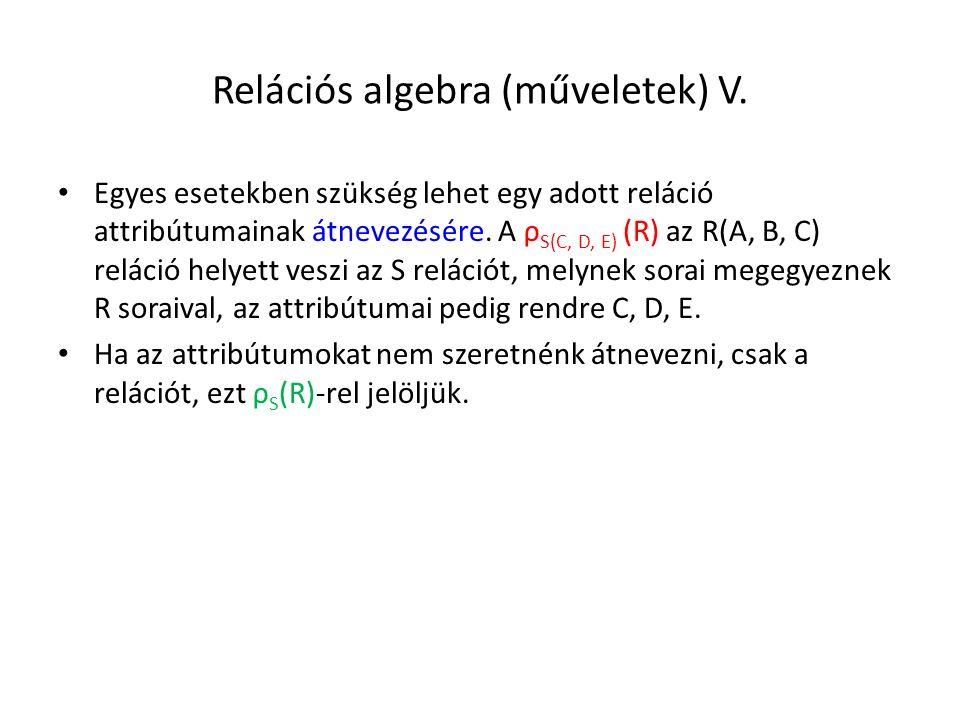 Relációs algebra (műveletek) V.