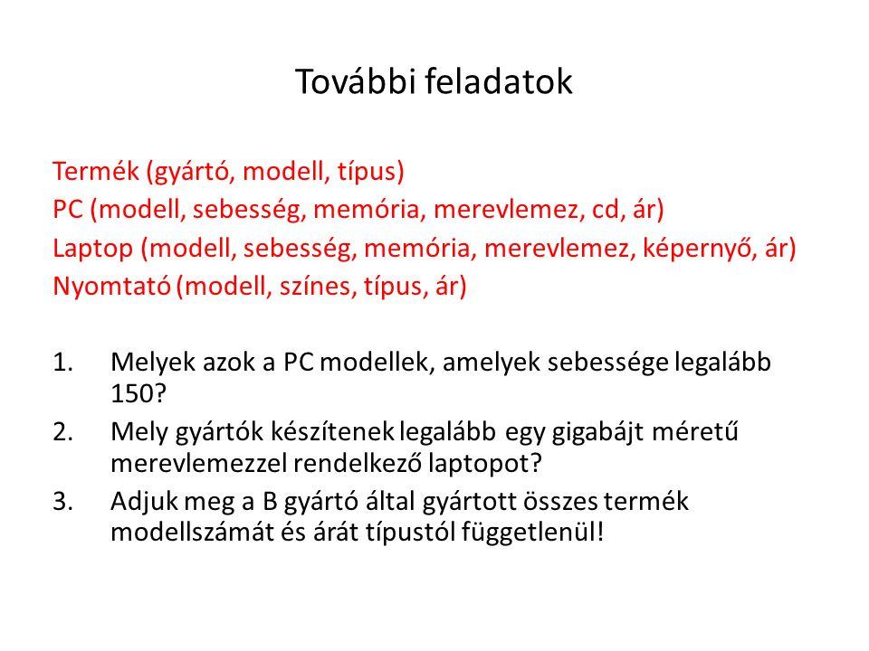 További feladatok Termék (gyártó, modell, típus)