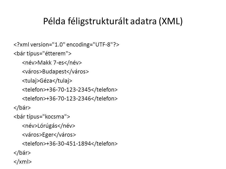 Példa féligstrukturált adatra (XML)